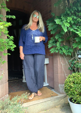 Palermo Hareem Linen Trousers in Navy - Feathers Of Italy