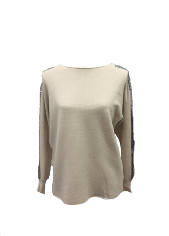 Sebastiano Seqined Jumper in Winter Cream