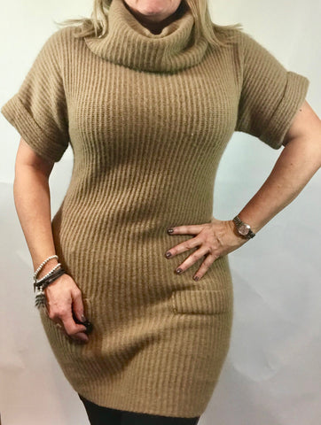 Angora Caramel Jumper Dress with Pockets - Feathers Of Italy - Feathers Of Italy