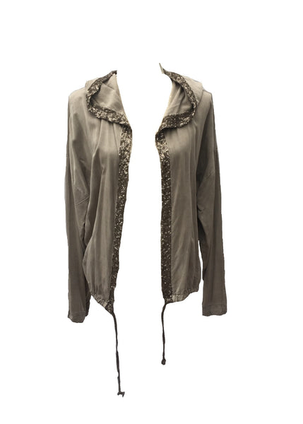 Sequin Hooded Jacket in Washed Grey - Feathers Of Italy