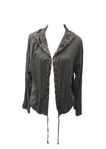 Sequin Hooded Jacket in Washed Stone - Feathers Of Italy