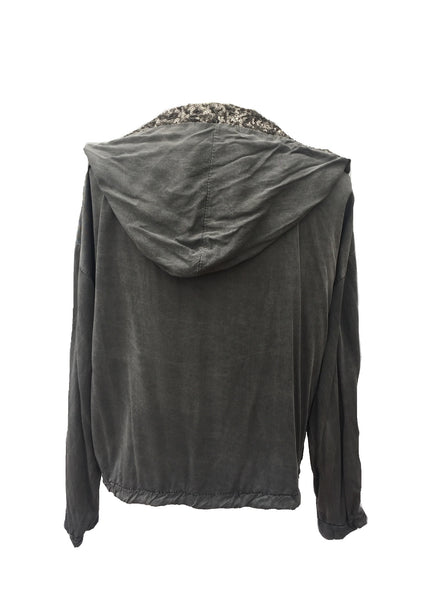 Sequin Hooded Jacket in Washed Stone