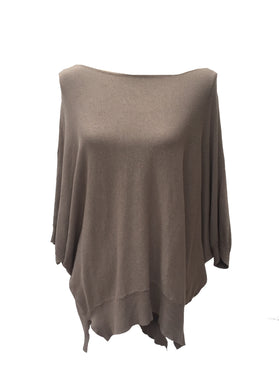Guava Overlay knitted Tunic In Mocha - Feathers Of Italy