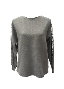 Sebastiano Seqined Jumper in Grey - Feathers Of Italy