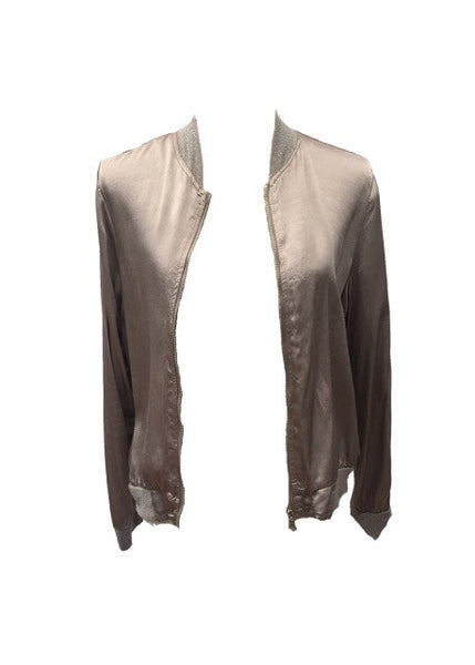 Satin Bommer Jacket in Sand - Feathers Of Italy