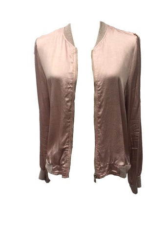 Satin Bommer Jacket in Pink - Feathers Of Italy