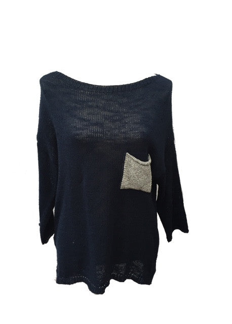 Ischia Patch Pocket Jumper in Navy