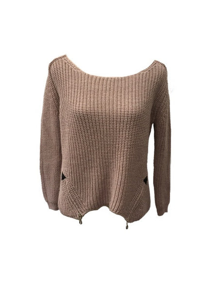 San Niccolo Alpaca Zip Jumper in Dusky Pink
