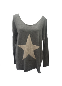 Star Knit Jumper In Grey