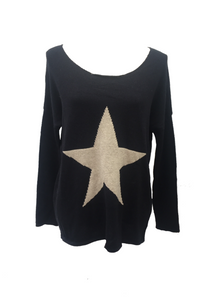 Star Knit Jumper In Navy - Feathers Of Italy
