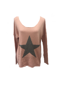 Star Knit Jumper In Pink - Feathers Of Italy