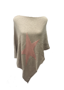 Star Poncho in Beige - Feathers Of Italy