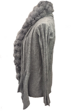 Load image into Gallery viewer, Pom Pom Cardigan in Grey - Feathers Of Italy