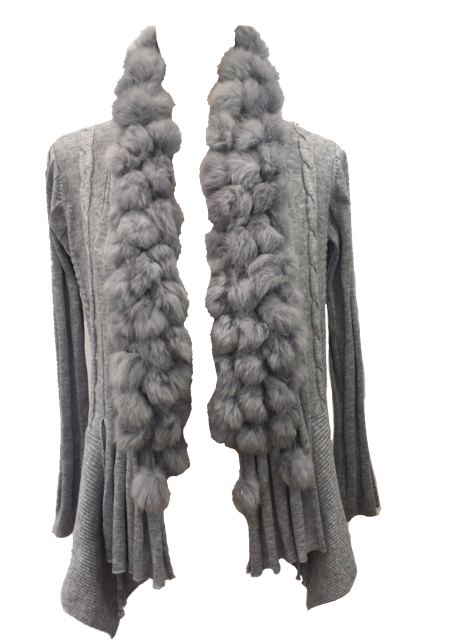 Pom Pom Cardigan in Grey - Feathers Of Italy