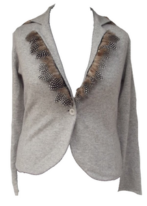 Luxury One Of a Kind 100% Cashmere & Guinea Fowl Trim Fitted Jacket in Grey by Feathers Of Italy - Feathers Of Italy