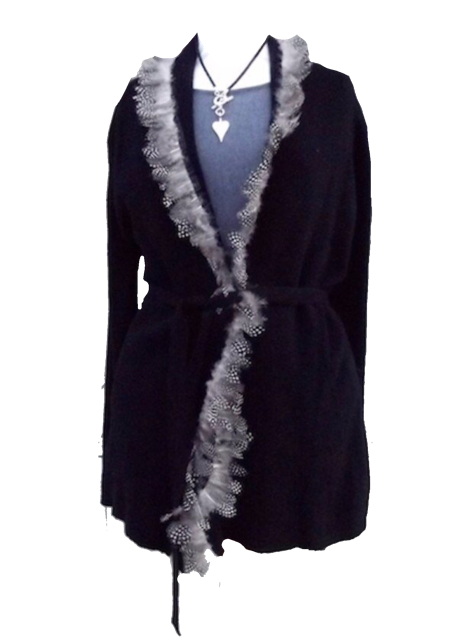 Luxury 100% Cashmere Coat with Guinea Fowl Feather Trim in Jet Black By Feathers Of Italy - Feathers Of Italy