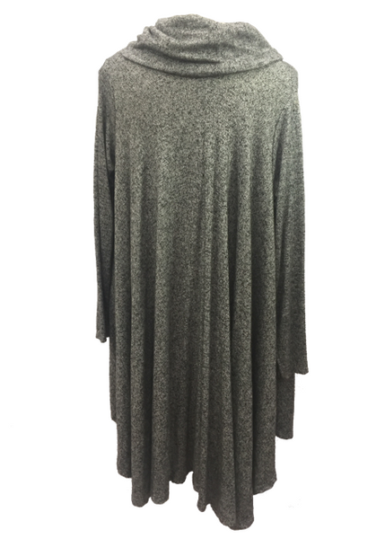 Swing Top with Cowl in Charcoal Marl - Feathers Of Italy