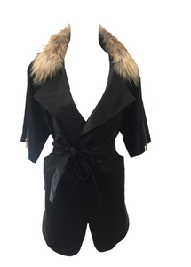Positana Over Jacket in Black - Feathers Of Italy