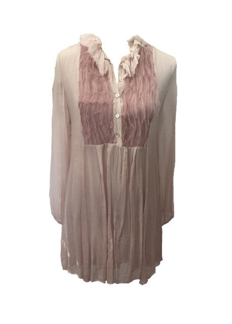 Livorno Silky Ruffle Dress Shirt in Pink Made In Italy By Feathers Of Italy One Size - Feathers Of Italy
