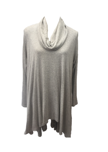 Swing Top with Cowl in Light Grey - Feathers Of Italy