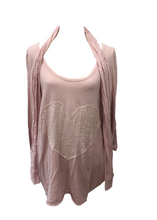 Load image into Gallery viewer, Sienna Soft Cotton Sequin Heart Top With Scarf in Pink Made In italy By Feathers Of Italy One Size - Feathers Of Italy