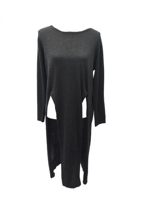 Limited Edition Long Line Jumper with front Splits In Grey - Feathers Of Italy