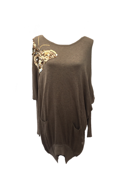 Butterfly Sequined Jumper in Mink - Feathers Of Italy