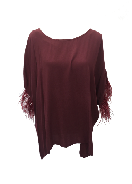 Orciano Pisano Ostrich Top in Ruby