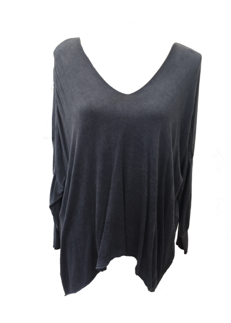 Chiffon Back Fine Knit in Blue Wash