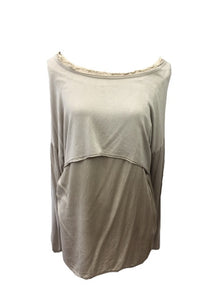 Raggy Edge Silk Layer Top in Stone Made In Italy By Feathers Of Italy One Size - Feathers Of Italy