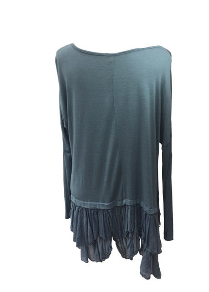 Silk Ruffle Bottom Oversized Tunic in Blue Made In Italy By Feathers Of Italy Daily Telegraph