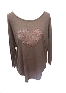 Sequin Heart Top in Champagne