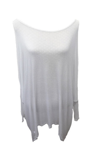 Gauli Oversized Fine Knit Top in White Made In Italy by Feathers Of Italy One Size - Feathers Of Italy
