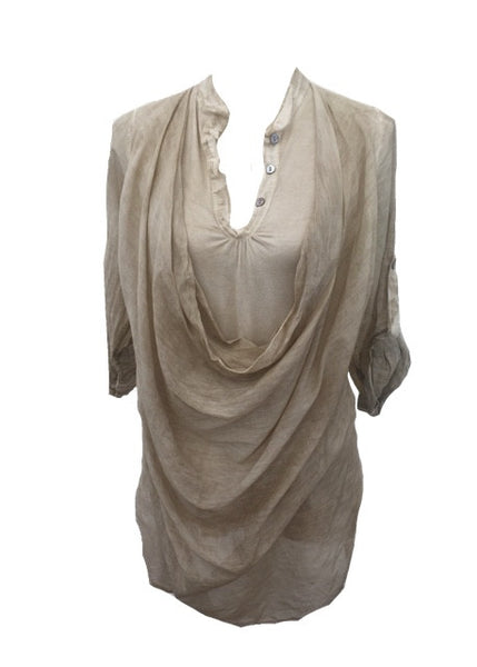 Double Layer Cowl Shirt in Stone - Feathers Of Italy