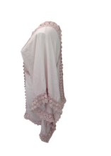 Load image into Gallery viewer, Sienna Lace Cotton Kimono in Pink Made In Italy By Feathers Of Italy One Size - Feathers Of Italy