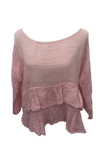 Raffadali Linen Top in Dusky Pink Made In Italy By Feathers Of Italy One Size - Feathers Of Italy