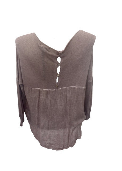 Button Back Top In Dusky Pink