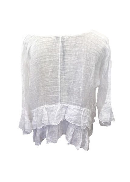 Raffadali Linen Top in White