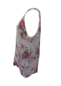 Fiarella Floral Tunic Top Two Piece in White Made In Italy By Feathers Of Italy One Size - Feathers Of Italy