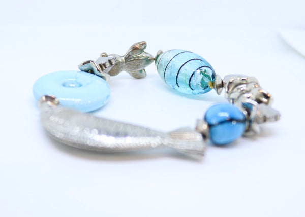 Chunky Fish Turquoise Bead Bracelet with Turquoise Stones - By Feathers Of Italy - Feathers Of Italy