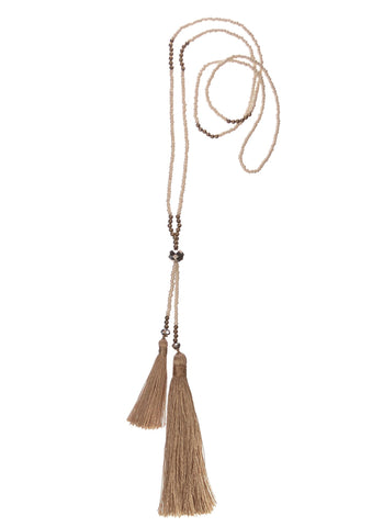 Double-Up Tassel W/Seed Beads - Winter White Pendant - Feathers Of Italy