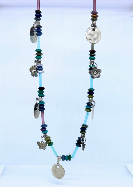 Mauri Necklace in Blue - Feathers Of Italy - Feathers Of Italy
