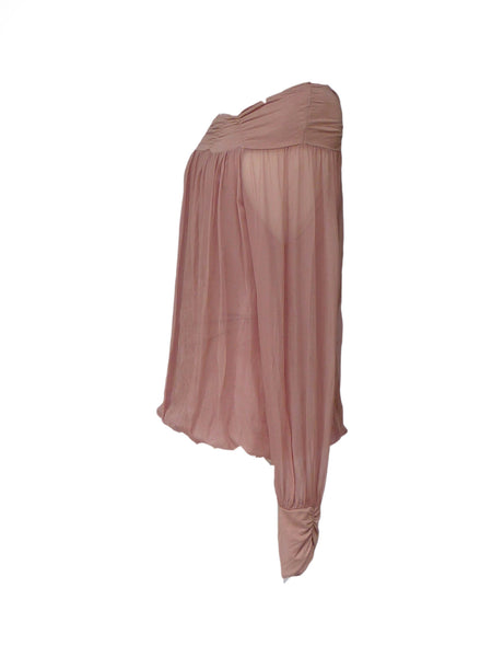 Luccia Silk Dress Top in Dusky Pink With Off The Shoulder Detail Made In Italy By Feathers Of Italy One Size - Feathers Of Italy