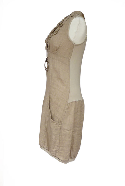 Amalfi Linen Ruffle Dress in Stone Made In Italy by Feathers Of Italy - Feathers Of Italy