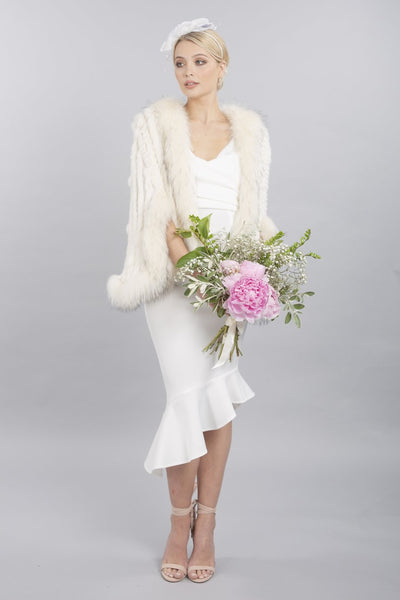 FOX AND CONEY FUR JACKET - Snow Cream - Feathers Of Italy