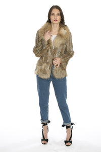 Scalloped Fur Jacket With Signature Collar in Mocha - Feathers Of Italy