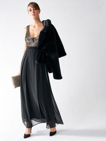 Rinascimento Abito Dress - Black Maxi Style With low Cut Front in Copper Sequins - Feathers Of Italy