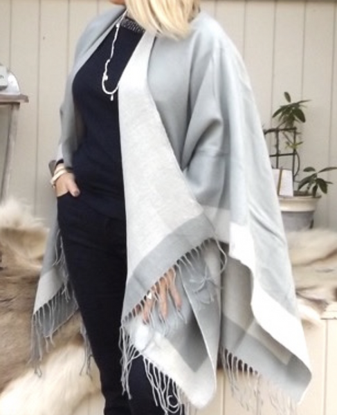 Bordered Reversible Wrap Cape in Cream & Grey - Feathers Of Italy