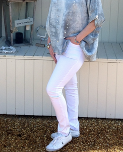 Amazing Florence Jeans in White - Feathers Of Italy