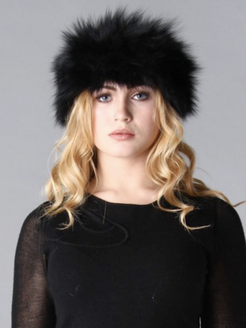 Fox Fur Headband in Black - Feathers Of Italy